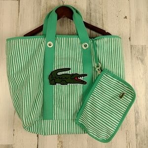 Lacoste Terry tote bag purse removable wristlet